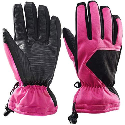 Selighting Damen Herren Wasserdicht Skihandschuhe Warme Sport Handschuhe Winter für Skifahren Motorradfahren Radfahren Outdoor (M, Rosa)