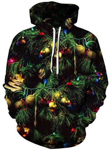 Ocean Plus Herren Aufdruck Kapuzenpullover Tierdruck Galaxis Motiv Sweatshirt Weihnachten Schädel Hoodie Top Streetwear (XXL/3XL (Brustumfang: 126-146CM), Farbig Weihnachtsbaum)