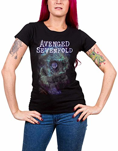Avenged Sevenfold T Shirt Space Face band logo offiziell damen Skinny Fit (Skinny-band-t-shirts)