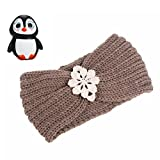 Muium Frauen stricken Stirnband handgemacht halten Sie warmes Haarband (Khaki)