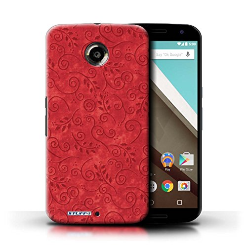 Kobalt® Imprimé Etui / Coque pour Motorola Nexus 6 / Rouge conception / Série Motif Feuille Remous Rouge