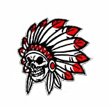 Totenkopf Native American Indian Wolfskopf-Motiv Patch Hand bestickt und Bügelbild Symbol Jacke T-Shirt patches aufnäher Zubehör