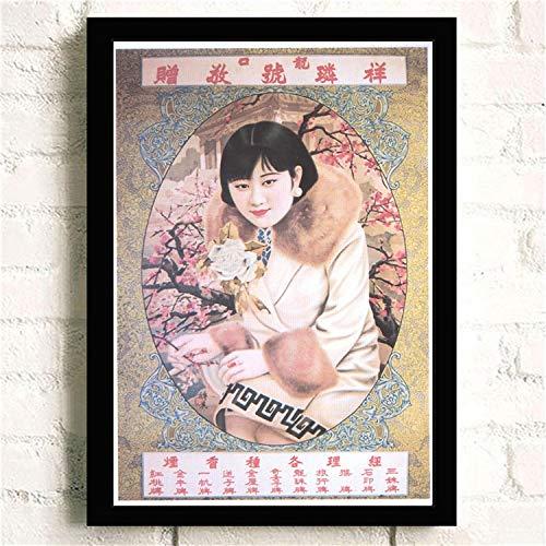 Geiqianjiumai Retro Klassische reizend Dame in Shanghai, China-Plakatsegeltuchanstrichwandkunstbildwandplakatdekoration rahmenlose Malerei 30X45CM