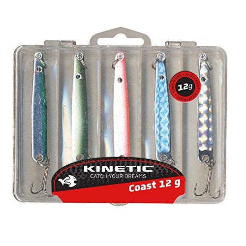 Kinetic 5er Multipack, bestehend aus Köderbox und 5 Hornhecht- und Meerforellen-Blinkern, verfügbar in 4 Gewichtklassen (24g)