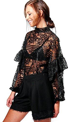 Noir Femme Mia Lace Ruffle Sleeve Tie Neck Oversize Blouse Noir