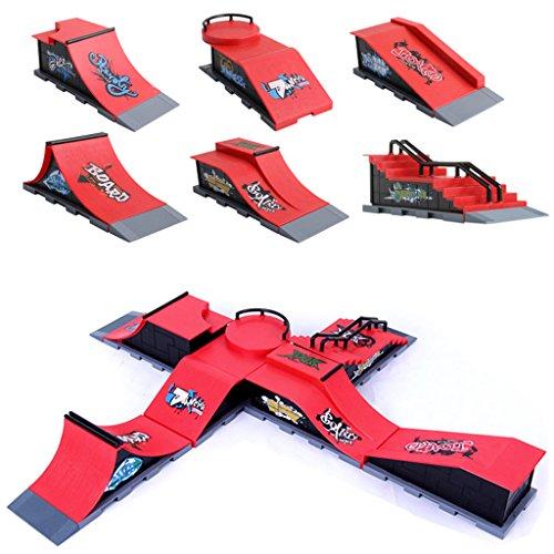 ECMQS Skate Park Ramp Teile A-F für Tech Deck Griffbrett Finger Board Ultimate Parks (A-F)