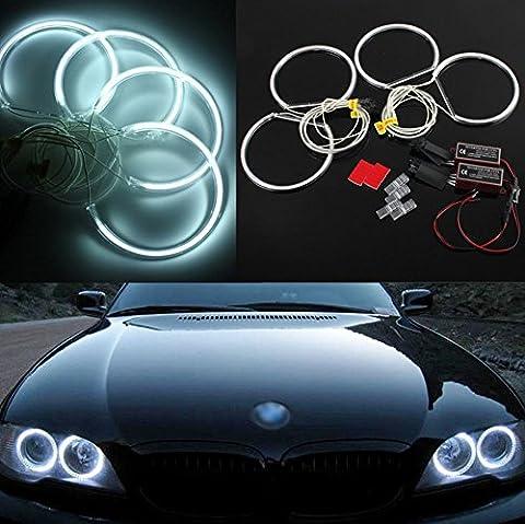 4*131mm CCFL Angel Eyes Halo Ringe Standlicht Ringe für BMW E36 E38 E39 E46 Projektor, Xenon Weiss
