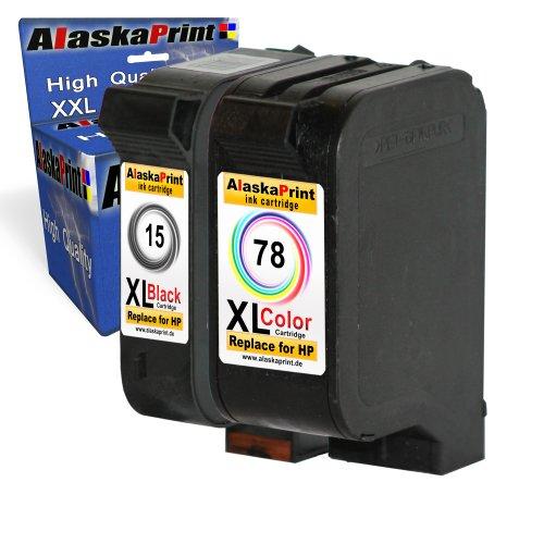 Premium 2er Set kompatible Tintenpatronen als Ersatz für Hp 15 XL +...