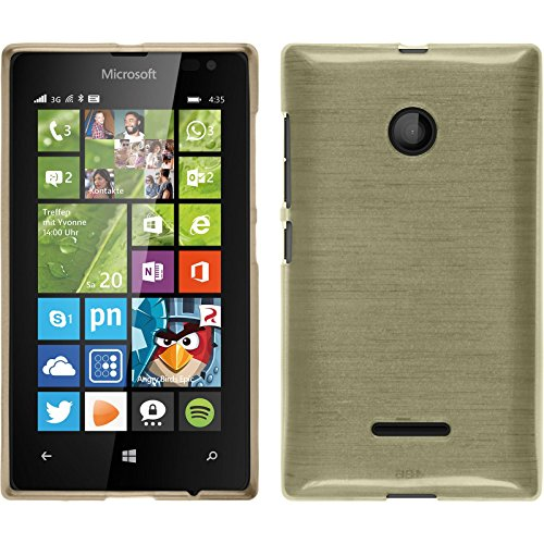PhoneNatic Case kompatibel mit Microsoft Lumia 435 - Gold Silikon Hülle Brushed + 2 Schutzfolien