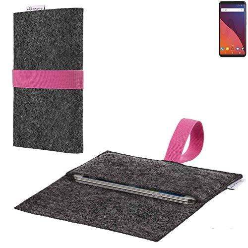 flat.design vegane Handy Hülle Aveiro für Wiko View 32 GB passgenaue Filz Tasche Case Sleeve Made in Germany