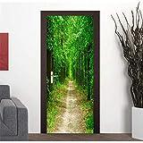 XIAOXINYUAN 3D Tür Aufkleber DIY Abnehmbare Wasserdichte Grüne Waldstraße Wandbilder Wandaufkleber Tapete Für Schlafzimmer Hause Weihnachtsdekor