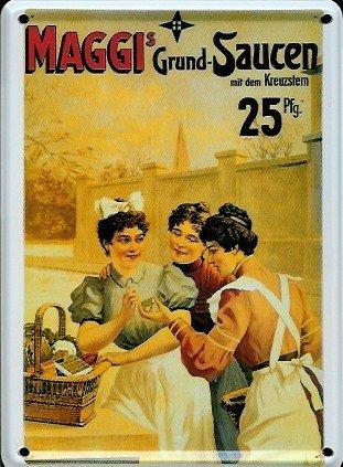 maggi-sauces-mini-reklamewelt-affiche-8-x-11-cm-metallique-retro-inscription-metal-sign-tin