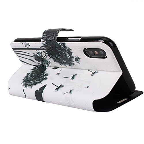 Etui Housse iPhone X Case,Coque Cuir iPhone X Housse Rosa Schleife iPhone 10 Folio Cuir Portefeuille Ultra Slim Leather Wallet arriere Housse Book type Téléphone etui de protection Pochette etui a rab 1-a5