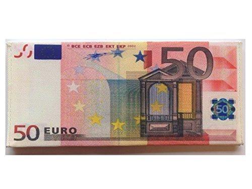 Portafogli Cucito a Mano Con Disegno Falsa Banconota Valute Sterlina Britannica Dollaro Euro - 50 EURO