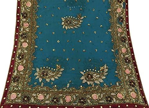 Jahrgang Blue Dupatta Lange indische Schal Hand wulstige Georgette Stola Hijab-Schleier
