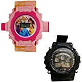 Shanti Enterprises Combo Princess 24 Images Projector Watch And Sports Watch Multi Color Dial For Kids