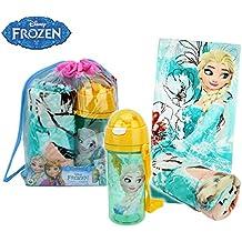 MWS2856 Mochila de playa princesa Elsa de Frozen incluye botella y toalla.