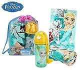 Disney WD17015 Kit da Spiaggia Principessa Elsa di Frozen Zaino, Borraccia e Telo Mare. MWS