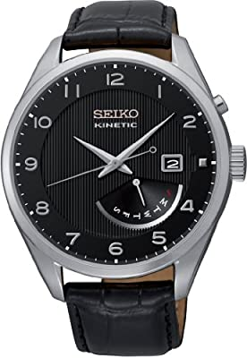 Seiko Kinetic - Reloj Analógico de Automático para Hombre, correa de Cuero color Negro