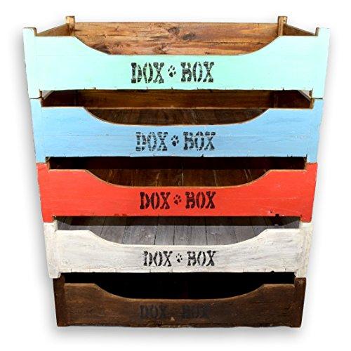 DoxBox | Handgefertigtes Hundebett | Aus receyceltem Mahagoni-Massivholz | Mit kuschelig, weicher Schaumstoffmatratze zum Wohlfühlen | Verschiedene Farben & Größen (100x70 cm, white - wash)