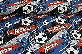 Pinidi Stoff/Meterware ab 25cm / Ökotex 100 / Jersey Fußball schwarz, blau, orange