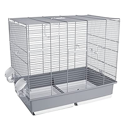 Voltrega Vidal Bird Cage in with Green Base, 58½ x 36 x 51½ cm, Large, Grey by Voltrega