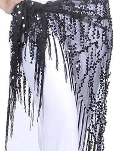 Danse du ventre costume Hip écharpe jupe Triangle Tassel Triangle Foulard Costume Black-Black