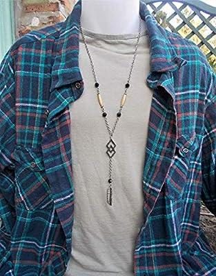 Collier ethnique indien à motif navajo, chaine en acier et cristal Swarovski