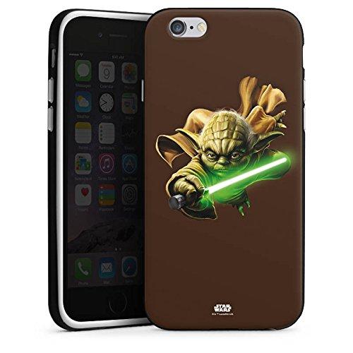 Apple iPhone X Silikon Hülle Case Schutzhülle Star Wars Merchandise Fanartikel Yoda Lichtschwert Silikon Case schwarz / weiß