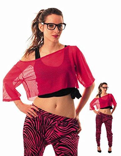 Party Pro 86520T-Shirt Fischnetz 80's Pink Fluo, -