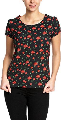 Deluxe Kirsche (Pussy Deluxe Damen Oberteil Kirschen Shirt Schwarz S)