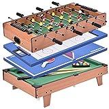 COSTWAY 4 in 1 Tavolo Multigioco Tavolo da Giochi Multifunzionale Calcetto, Biliardo, Ping Pong, Hockey