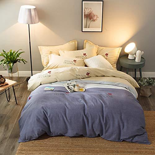 yaonuli Verdickung Schleifen vierteilige Baumwolle ökologisch aktive Doppel-Bettwäschesätze Vier Sätze von bunten Farben - gelb 2,0 Meter Bettbezug 220 * 240cm