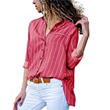 Camicia da Donna,Momoxi T-Shirt da Donna A Manica Lunga A Righe Colorate A Blocchi di ColoreCasual Vestito A-Line con Maniche Corte al Ginocchio T Shirt Top Camicia Estate Primavera Autunno