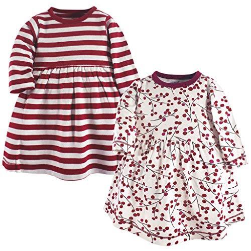 Baby-Mädchen Kleid/Dorical 2Pcs Mädchen Sommer Rundkragen Streifen Drucken Kurzarm T-Shirt Kleid Knielang 0-24 Monate(Rot+Rot-2,3-6 Monate)