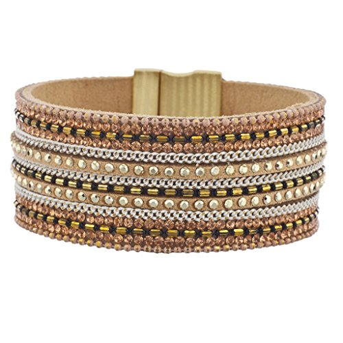 Lux Accessories Tan Rose Gold Tone Pave Stone Studded Thick Magnetic Bracelet - Tono Oro Charm Bracelet Bracciale