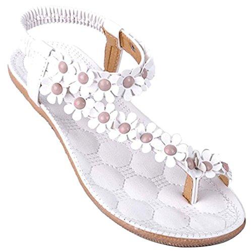 Minetome Ladies Sexy Girls Summer Slippers Bohemia Flower Bead Flip Flop Shoes Flat Sandals ( White UK 3.5 EU 36 )