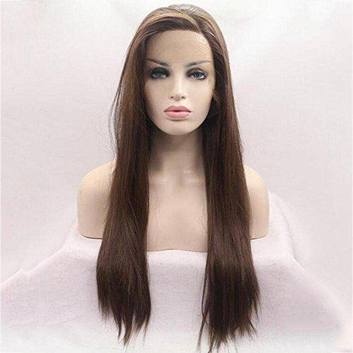 NHJFWG Dunkelbraun Lang Gerade Art und Weise Frauen-schöne Haar-Partei-volle Perücke (Dunkelbraun)