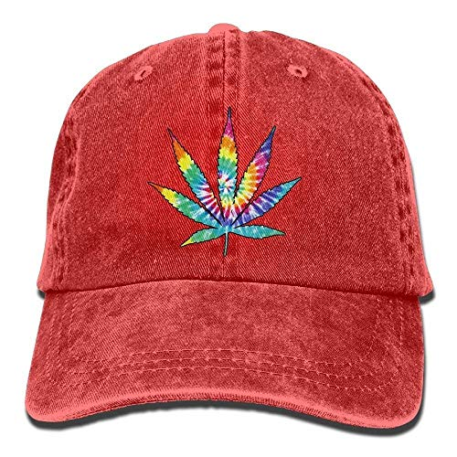 HOP caps Men and Women Weed Leaf Tie Dye Vintage Jeans Baseball Cap Red