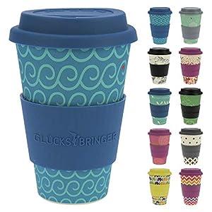 511dFDKBGyL. SS300  - ebos Glücksbringer Coffee-to-Go-Becher aus Bambus | Kaffe-Becher, Trink-Becher | ökologisch abbaubar, recyclebar, umweltfreundlich | lebensmittelecht, spülmaschinengeeignet