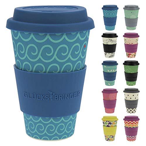 ebos Glücksbringer Coffee-to-Go-Becher aus Bambus | Kaffe-Becher, Trink-Becher | wiederverwendbar, natürliche Materialien, umweltfreundlich, lebensmittelecht, spülmaschinengeeignet (Cool Waves) -
