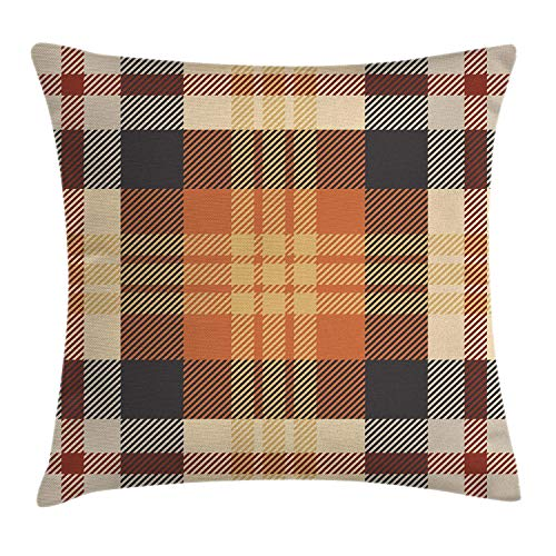 GONIESA Abstract Throw Pillow Cushion Cover, Nostalgic Plaid Motif with Stripes Classic Checkered Celtic Fashion Design, Decorative Square Accent Pillow Case, 18 X 18 Inches, Orange and Beige