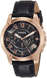 Fossil Men's Fs5085 Grant Chronograph Leather Watch - Black, Analog Dis
