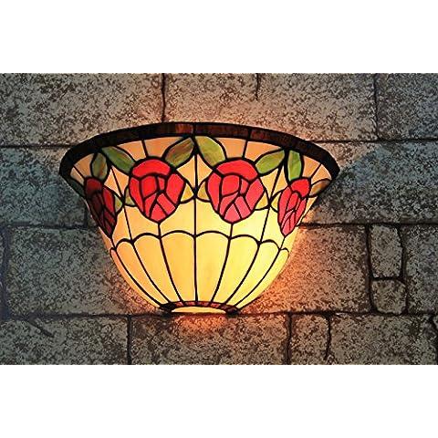 13 pulgadas de la vendimia Pastoral del vitral de Tiffany Rose romántica lámpara de pared Pasillo aplique de la pared de la lámpara Fixture