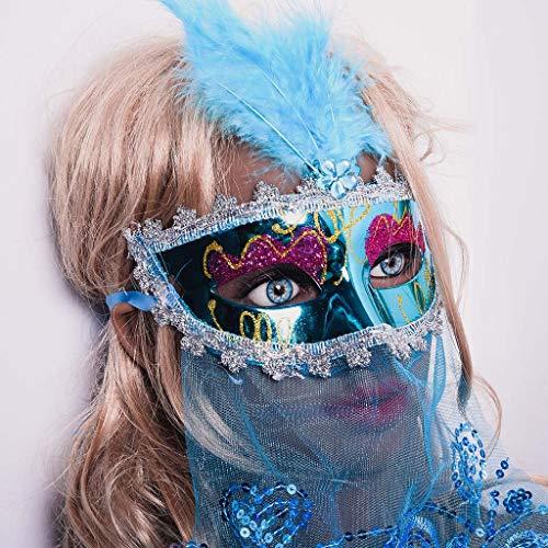 Sexy Deluxe Kostüm Pfau - 99native Rose Brilliant Maskerade Maske Griechische Römische Party Karneval Halloween Masquerade Mask für Damen Oriental Fluffy Feather Venezianische Maske (C)