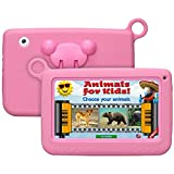 Qimaoo 7 Zoll Kinder Tablet, Android Tablet Kids Bilige Tablet PC 8G ROM+32G SD Speicherkarte Android 4.4 Quad Core 1.2 GHz mit Silikonhülle Kinder Geschenk Pink