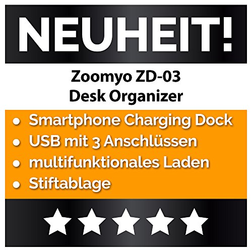 Desk Organizer Schreibtisch Ordnungssystem Mit 3 USB Anschlüssen Und Ladefunktion, Passend Für iPhone, Samsung u. a. Smartphones Bis 4 Zoll Von zoomyo - 2