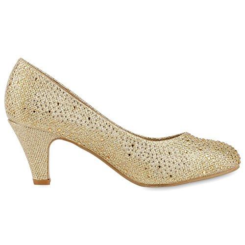 napoli-fashion Klassische Damen Pumps Strass Glitzer Party Schuhe Stiletto Mid Heels Metallic Hochzeit Abendschuhe Jennika Gold