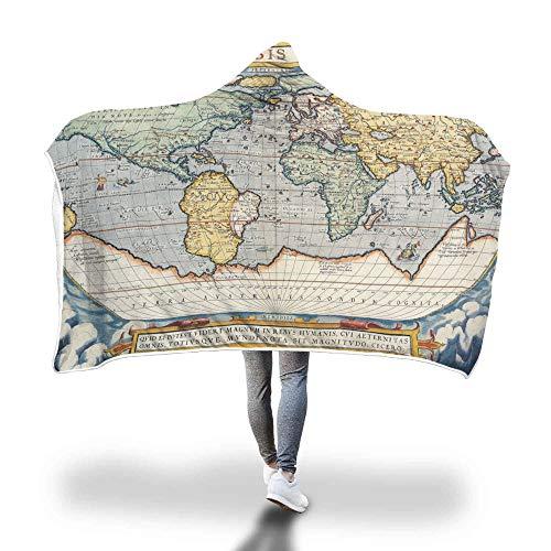 FimGGe Weltkarte Gedruckt Mit Kapuze Decke für Erwachsene Kinder Sherpa Fleece Tragbare Picknick Bett Sofa Home Decor Werfen Warme Decken-150 cm * 200 cm -