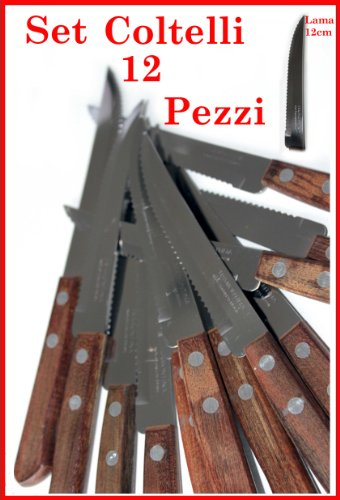 Set 12 coltelli manico legno lama acciaio inox TRAMONTINA ORIGINALI PUNTA APPUNTITA cucina brasile carne bistecca casalinghi